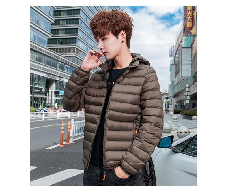 羽绒棉衣男士外套新款轻薄保暖棉服学生帅气韩版修身短款连帽棉袄详细照片