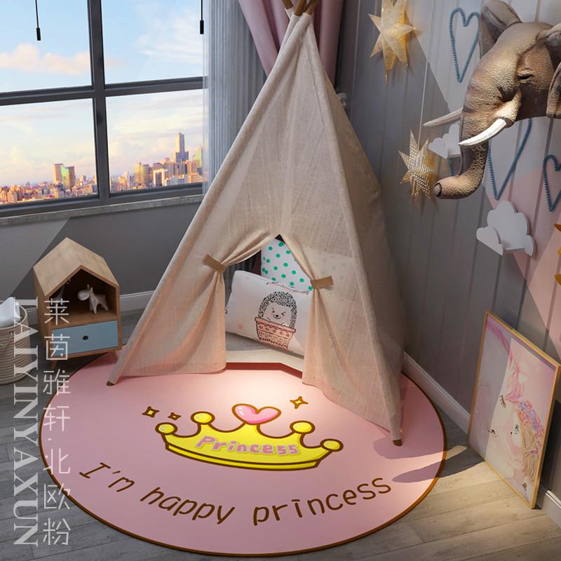 Thảm tròn màu hồng phòng ngủ cô gái trái tim trang trí phòng đầy đủ đầu giường thảm máy tính tròn treo giỏ đệm - Thảm