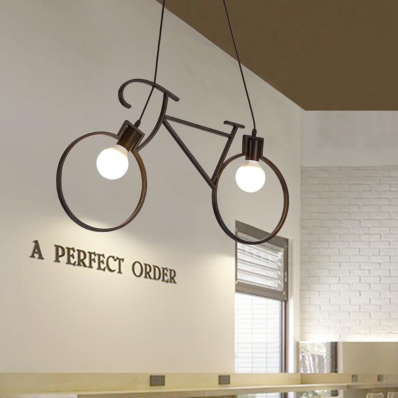北欧美式现代橱窗创意复古阳台灯饰单车餐厅吊灯客厅装饰吧台铁艺