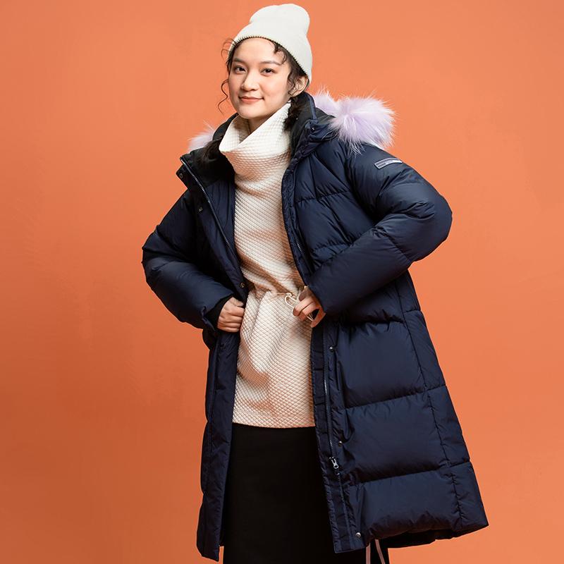 【双11预售】安踏中长款羽绒服女2021冬连帽运动外套加厚保暖过膝
