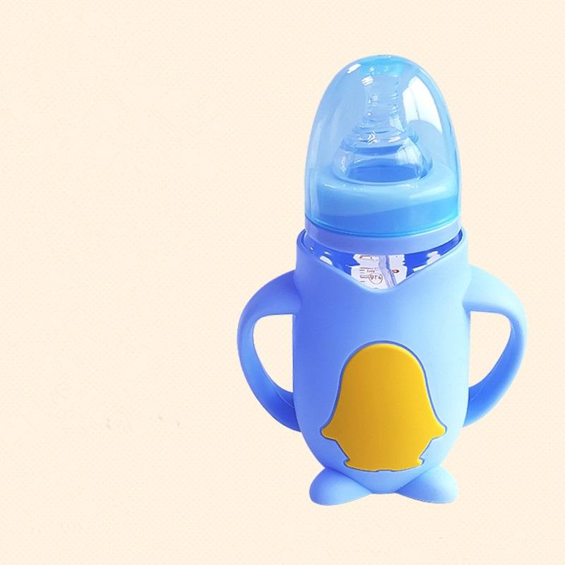 安奈小熊婴儿玻璃奶瓶耐摔防摔防爆带硅胶套宽口径新生儿宝宝用品
