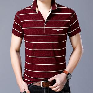 男士短袖t恤 翻领条纹polo衫男夏季修身韩版潮流半袖体恤男装衣服