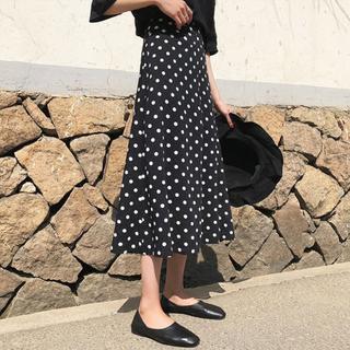 Юбки,  Черный волна точка юбка женщина весна длина a слово талия тонкий костюм бедренная кость бедро толстый рыбий хвост юбка, цена 995 руб