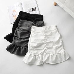 Fishtail skirt half-length skirt female summer 2020 new Korean version of the high waist solid color a-line package hip skirt lotus leaf pleated skirt