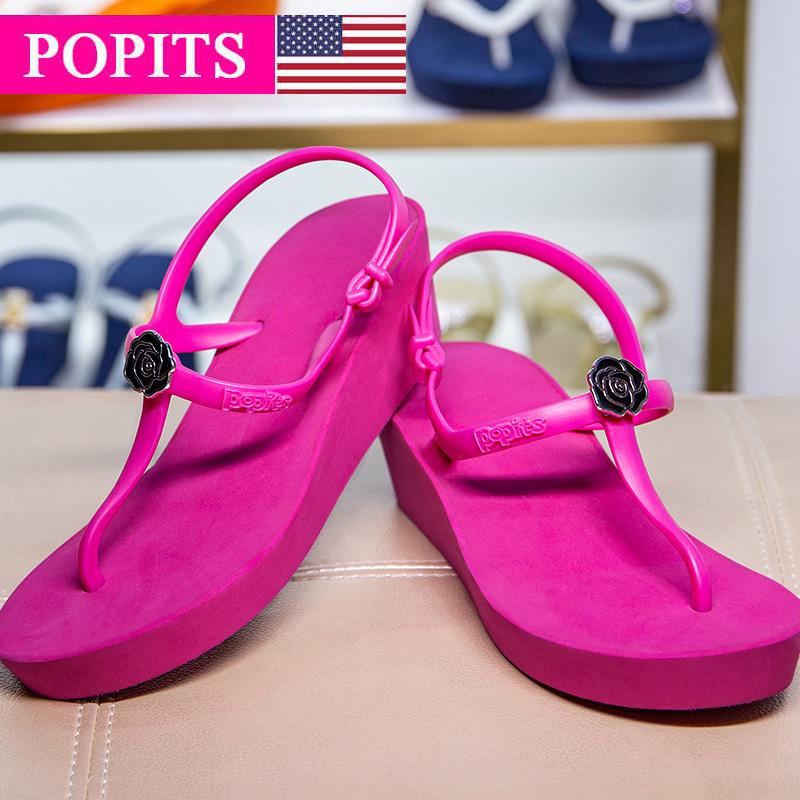 Popits凉鞋女中跟2021新款5CM厚底坡跟玫红时尚休闲出游夏季欧美(Popits凉鞋女中跟2021新款)