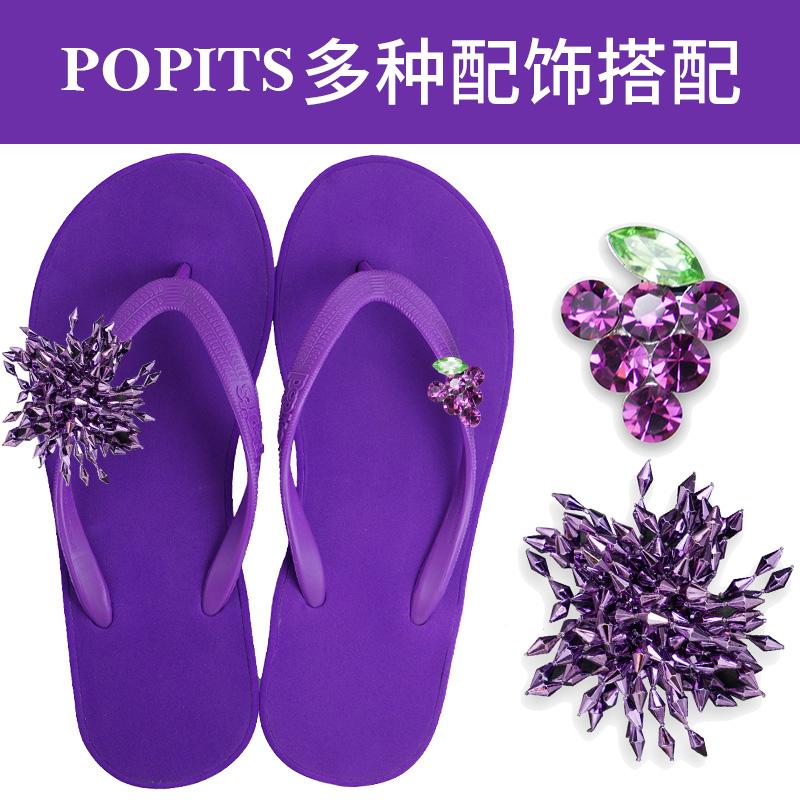 Popits坡跟5cm2021夏防滑高跟沙滩度假外穿人字拖鞋平底套餐推荐(Popits坡跟凉鞋外穿人字拖鞋)