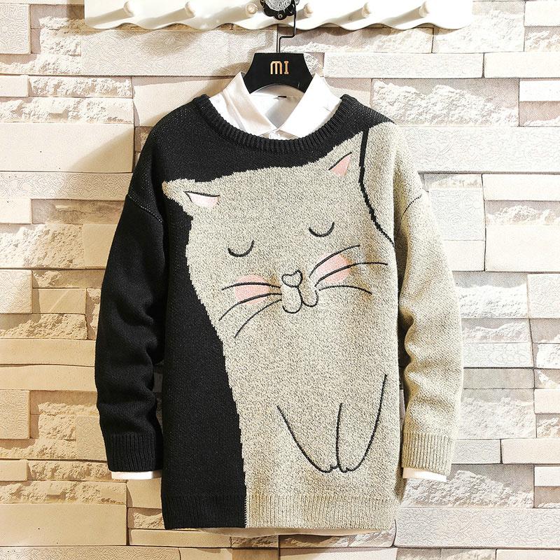 Mùa thu và mùa đông xu hướng Hàn Quốc phim hoạt hình áo len nam cộng với kích thước áo len cashmere quần áo len áo len dệt kim - Áo len