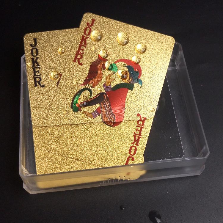 黄金色金箔塑料扑克牌 防水个性土豪金创意扑克牌磨砂PVC卡牌桌游