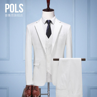 Men's suits set three-piece white suit male set Korean version of the slim casual groom marriage is equipped with