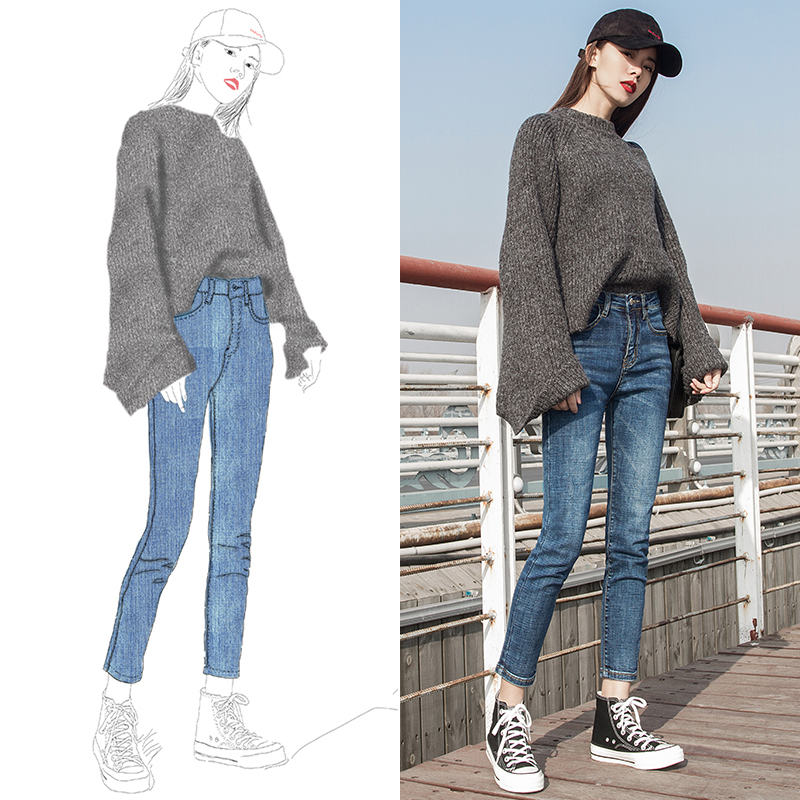 High waist jeans female nine points tight feet spring and autumn 2019 new Korean Slim was thin high long pants