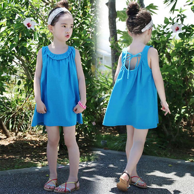 На девочку Платье летнее платье 2018 новая коллекция чистый хлопок Sling юбка корейская  версия детское университета Чжуншань детские Пляжная юбка для маленькой принцессы
