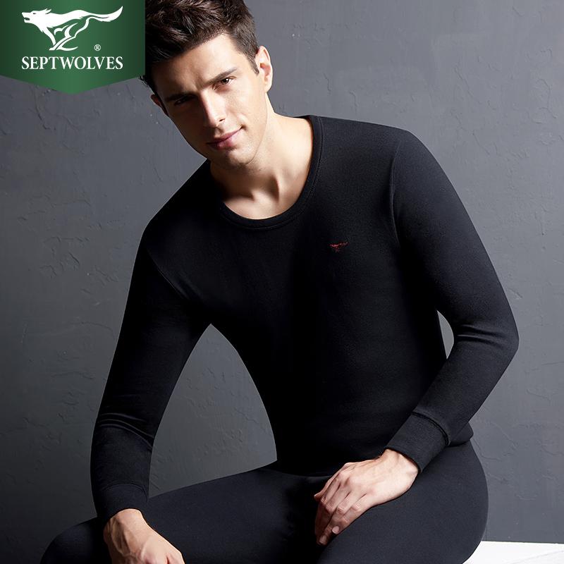 100%纯棉,送棉袜:七匹狼 男士 秋衣秋裤保暖内衣套装