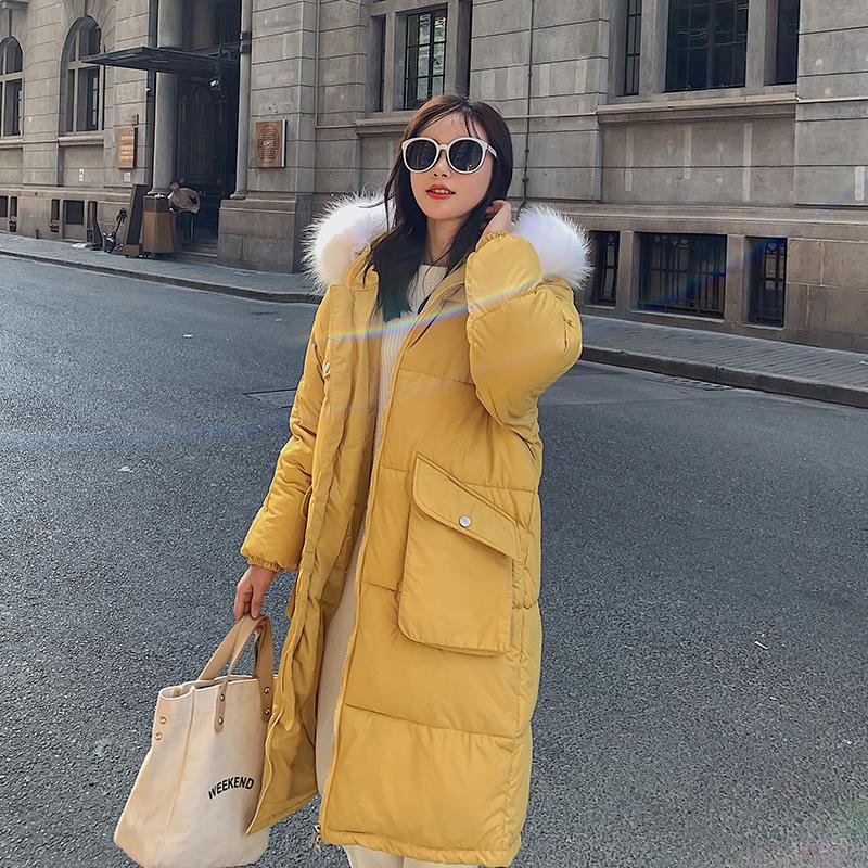 加厚大毛领羽绒棉服女2019冬季
