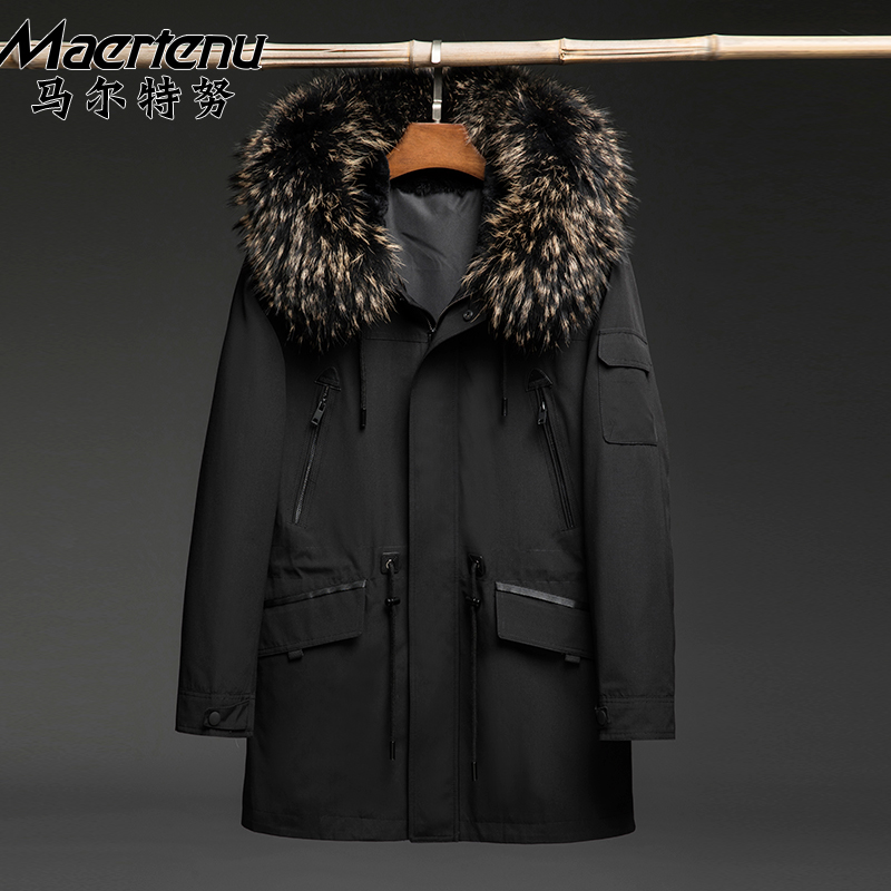 New Pie overcomes men's hooded fur coat winter warm-up big size Parker coat mid-yearly overcome