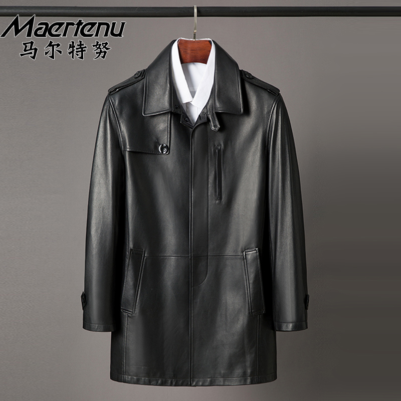 Trendy men's leather clothing new sheep leather coat lapel windbreaker spring and autumn casual business coat