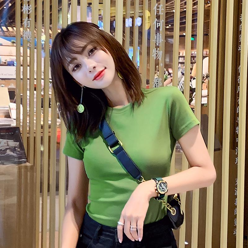 超火牛油果绿t恤抹茶绿短袖衣女