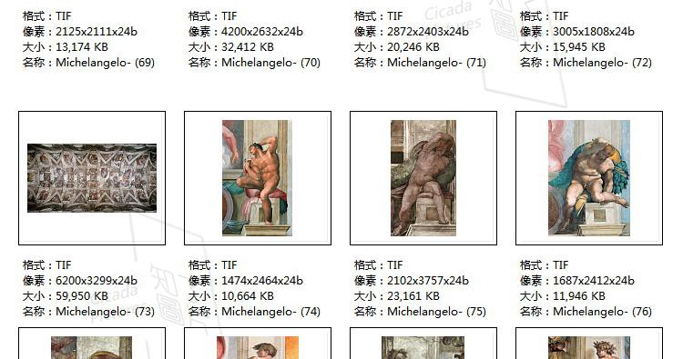 米开朗基罗 高清油画图片素材电子版文艺复兴装饰画喷绘打印临摹插图(33)