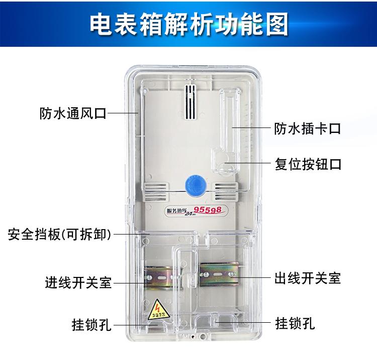 单相电錶箱家用室外防水塑料透明多户位插卡三相电錶箱子户详细照片