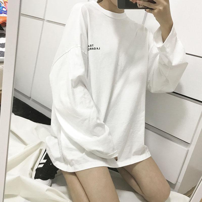 春秋装韩版中长款学生T恤女宽松显瘦百搭上衣长袖衫女白色bf打底