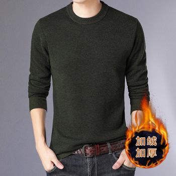 秋冬款男士毛衣韩版潮流加厚纯色针织衫
