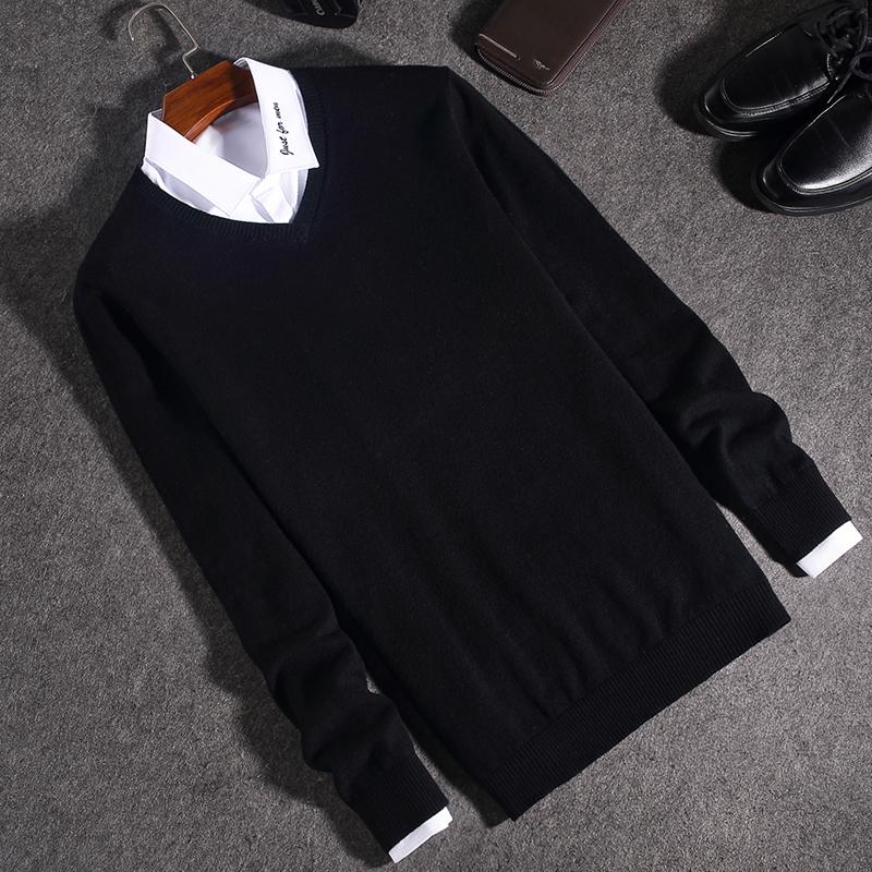 男士毛衣针织衫T恤长袖2018新款秋冬纯色v领上衣服男装线衣打底衫