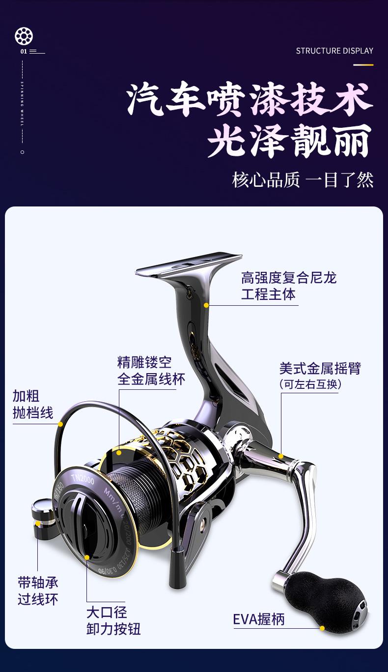 渔之源渔轮捲线器全金属无间隙不锈钢抛竿海桿远投路亚鱼轮鱼线轮详细照片