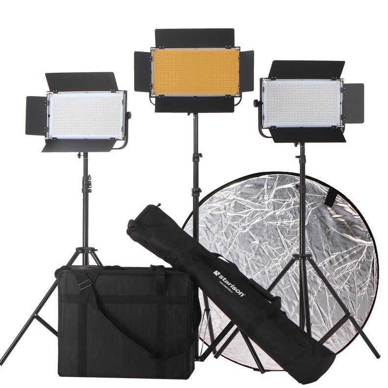 鑫威森LED1100S影視平板柔光燈攝像攝影燈光雙色溫視頻微電影套裝