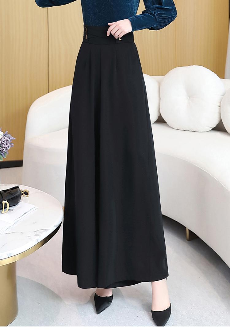 2020年春季时尚潮流舒适休闲裤子高腰纯色宽松气质