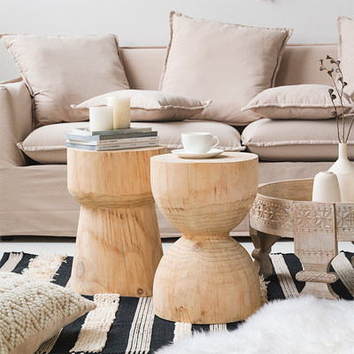 Lunjia home decorative wood pier table INS wind creative wooden pier round stool stump wooden pile grass wood art sitting stool