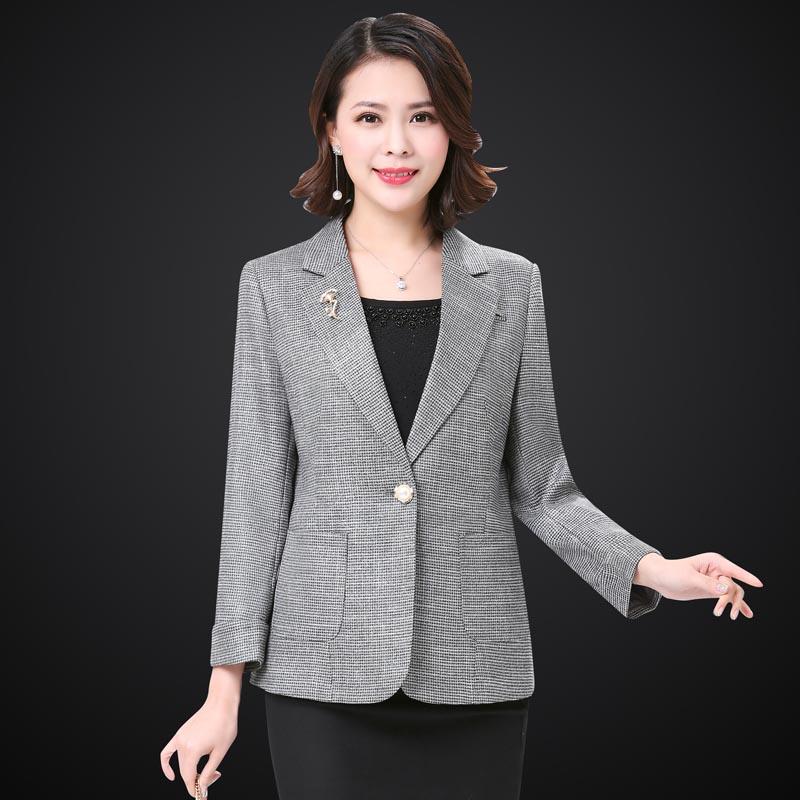中年妈妈上衣小西服时尚女士短外套修身显瘦一粒扣翻领春装职业装