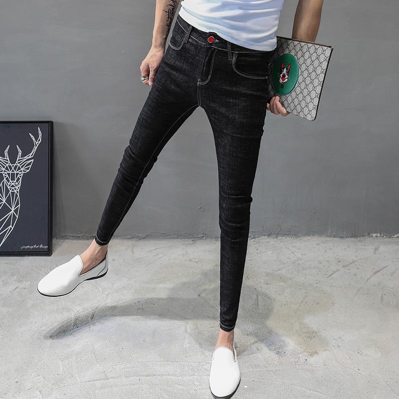 黑色牛仔裤男修身小脚韩版简单款百搭弹力青年发型师裤子学生九分