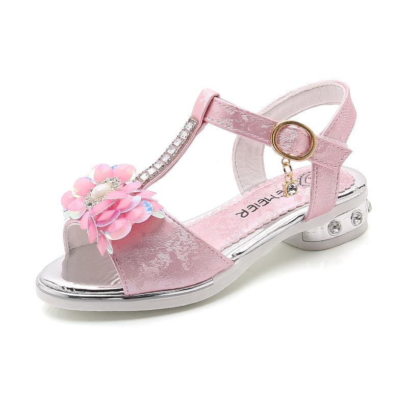 女童凉鞋2018新款韩版夏季小童女孩公主鞋儿童鞋高跟鞋水晶鞋水钻