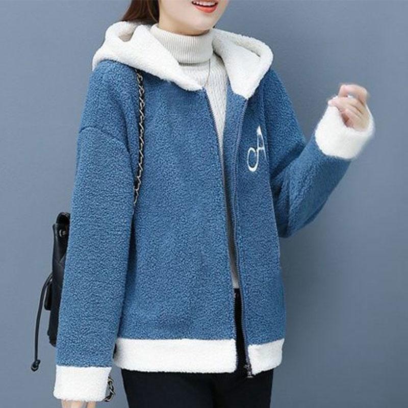 简洛菲羊羔毛绒外套女秋冬2020年新款加绒加厚韩版宽松百搭外套女
