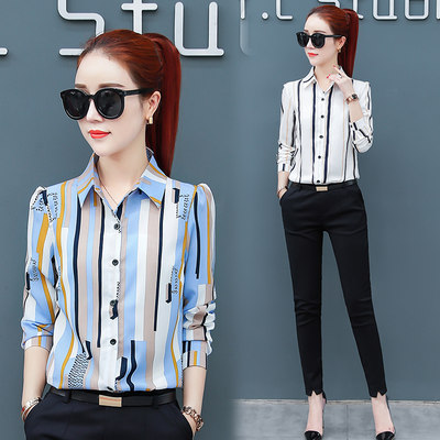 Women's shirt 2020 new spring and autumn chiffon foreign style striped shirt women's long-sleeved fashion European station bottoming shirt