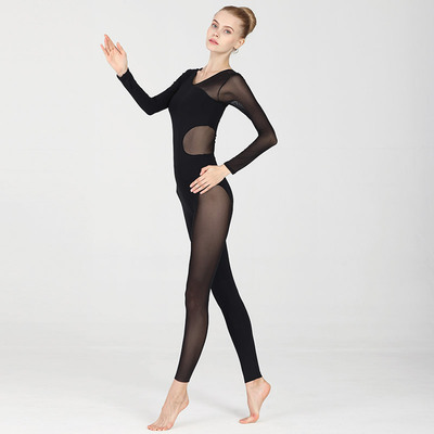 Ballroom latin dance bodysuit for women long sleeve air Yoga suit all in one Yoga suit womenJumpsuit mesh professional BODYSUIT