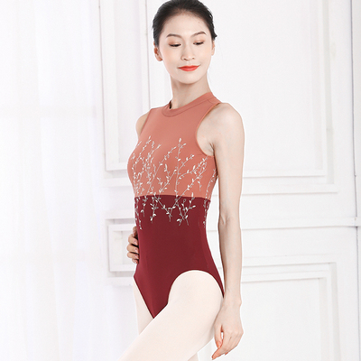 Ballroom latin dance bodysuit for women Dancing gymnastics suit adult ballet training dress teachersmall stand collar embroidered color contrast one piece ballet body dress