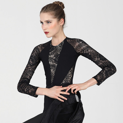 Ballroom latin dance bodysuit for women Adult Modern Dance Top WomenLatin Dance Dress national standard dance Long Sleeve Black Lace one-piece dance training suit