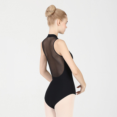 Ballroom latin dance bodysuit for women Adult ballet dress standing collar training suit air Yoga suit one piece body suit female front zipper Dance Dress