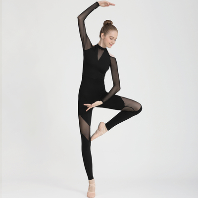Ballroom latin dance bodysuit for women long sleeve air Yoga suit one piece pants one piece stand collar mesh stitching Ballet Dance Dress