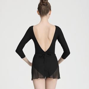 Ballroom latin dance bodysuit for women Dance gauze skirt womenhalf skirt lace up adult ballet skirt one piece short teacherbody training skirt