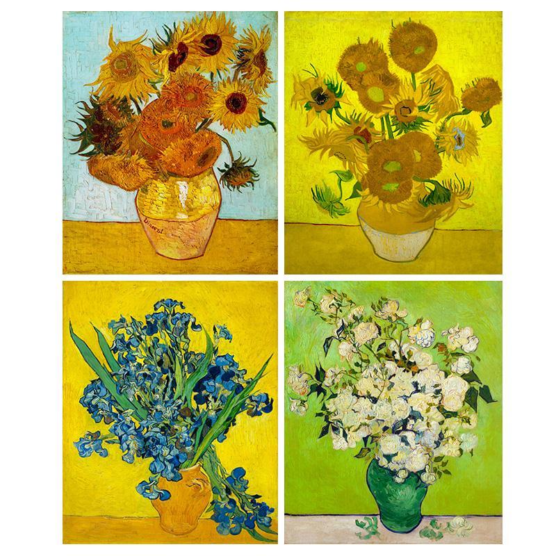 欧式梵高花瓶向日葵白玫瑰油画装饰画心客厅挂画油画布打印画芯