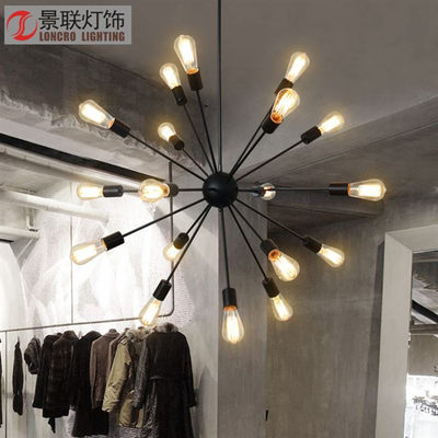 Branch wrought iron art industrial style creative chandeliers restaurant lamps lighting Nordic living room modeling lights net red chandeliers