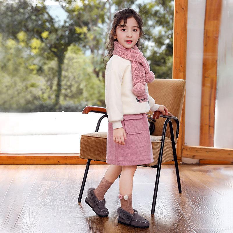 女童套装冬季新款儿童加绒加厚卫衣针织半裙套装韩版女孩三件套
