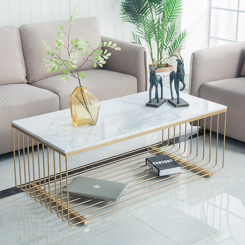 Yunji Nordic Living Room Marble Coffee Table Wrought Iron Rectangular Creative Modern Minimalist Small Apartment Guest
