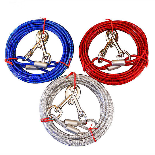 Double head dog rope traction rope small small dog double hook lengthening wire rope iron chain anti-bite dog chain painting dog