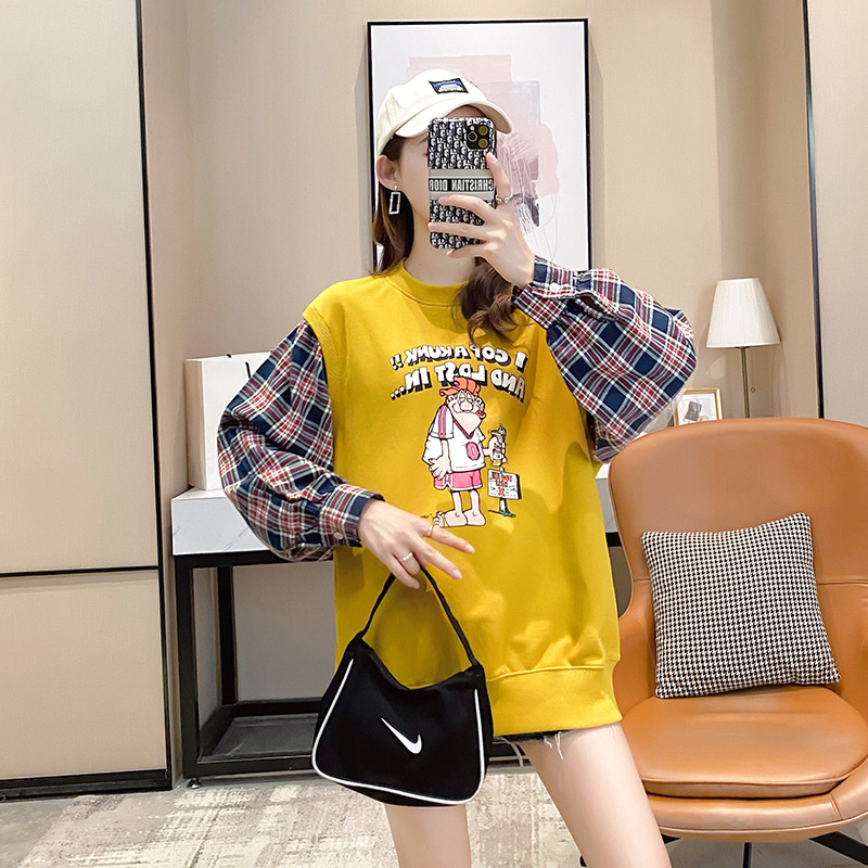 Fake two pieces of women's clothing 2020 new spring and autumn Korean version of loose salt thin coat ins tide clothes 38 Online shopping Bangladesh