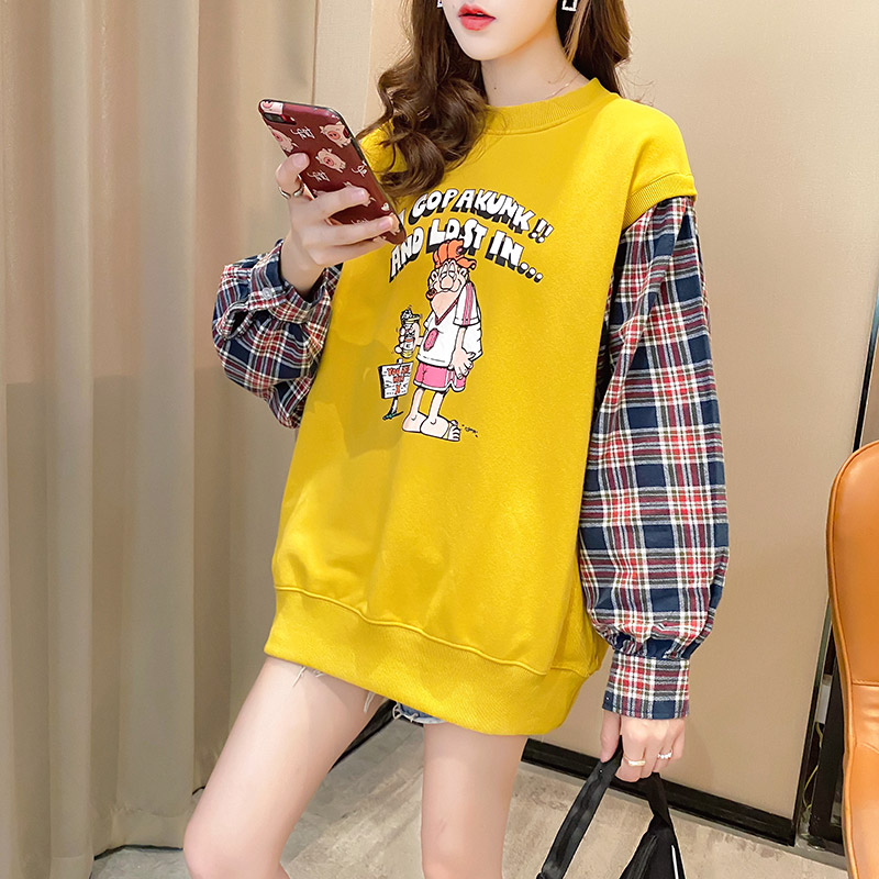 Fake two pieces of women's clothing 2020 new spring and autumn Korean version of loose salt thin coat ins tide clothes 41 Online shopping Bangladesh
