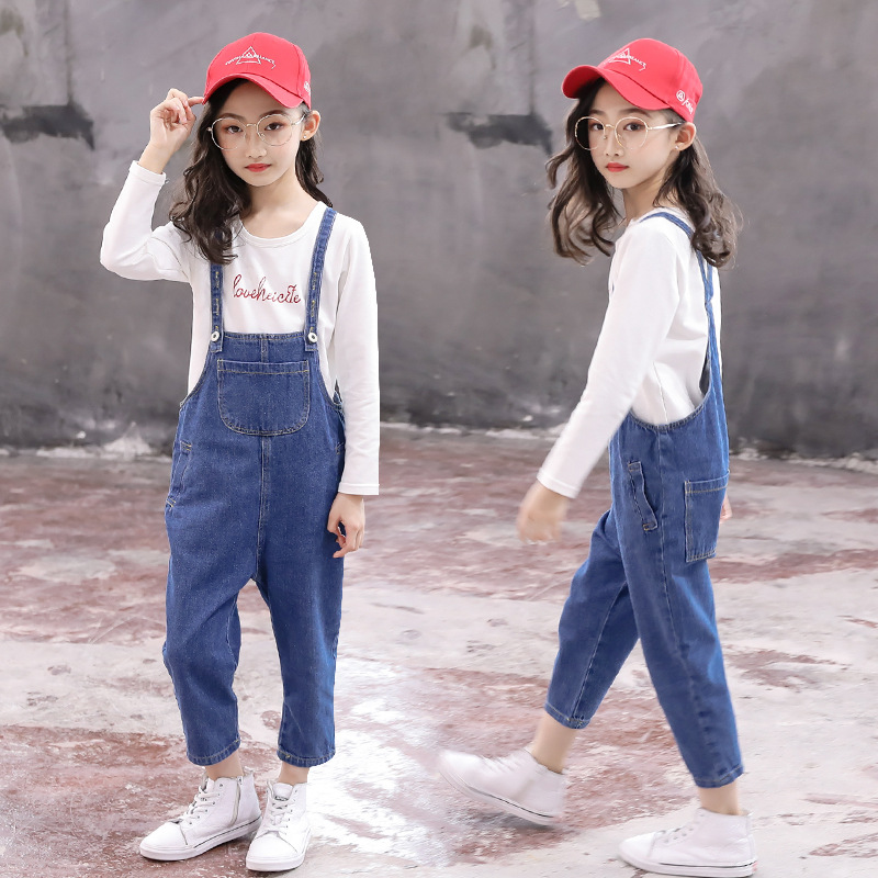 Girls carry pants set 2021 new foreign fashion Korean version of children's spring and autumn jeans loose medium and large
