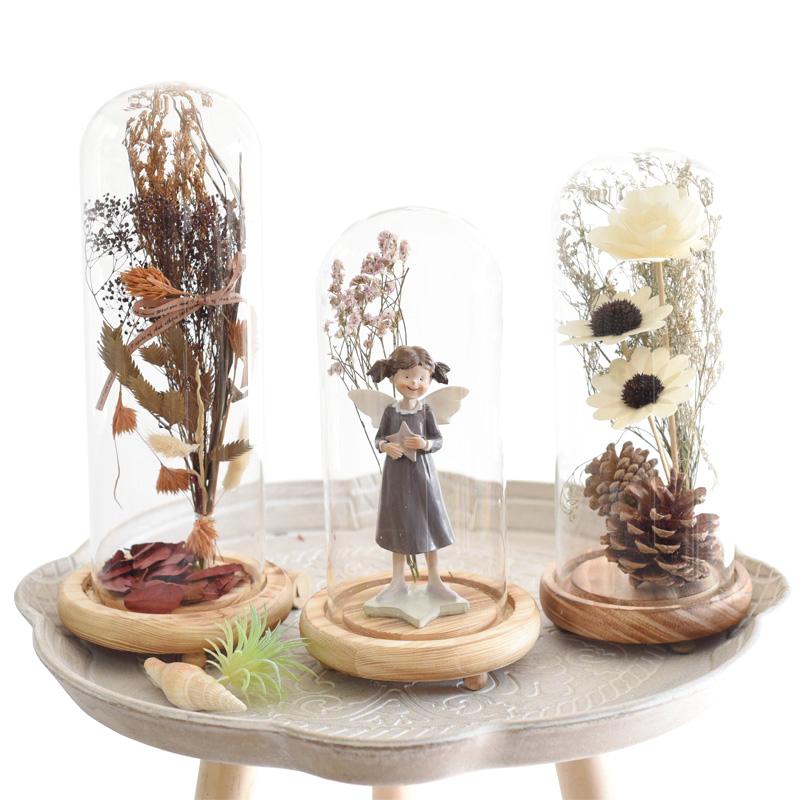 美式创意摆设永生花玻璃罩摆件家居软装饰品北欧酒柜柜干花客厅