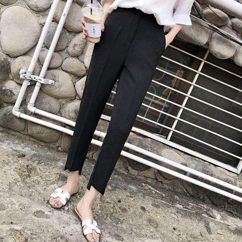 Quần vest đen nữ 9 điểm quần thẳng 2020 mới hè cao eo cao là quần harem mỏng chân ống khói ống quần - Khởi động cắt